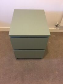 IKEA MALM bedside table 2 sliding drawers in green, excellent condition