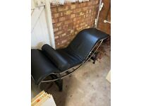 Pair Of Black Leather Look Loungers / Easy Chairs