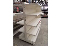SINGLE BAY CREAM GONDOLA SHOP DISPLAY SHELF STORAGE.ON WHEELS PORTABLE