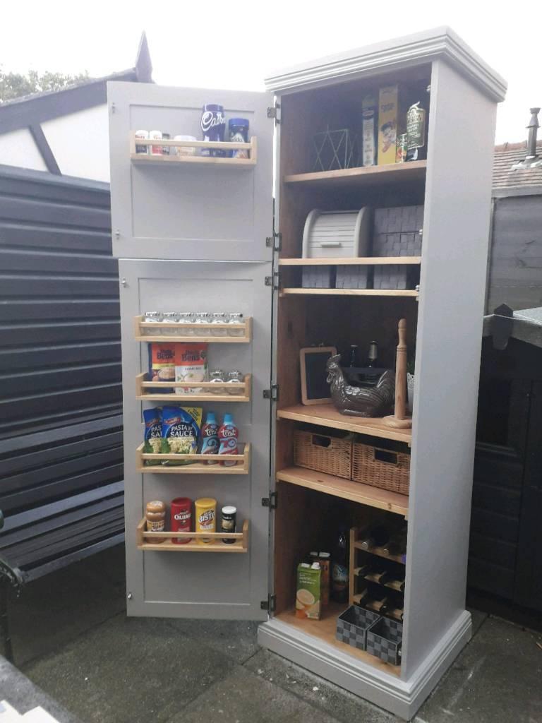 Solid pine painted kitchen larder cupboard