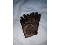 ASOS womens black leather driving gloves with touchscreen input size M