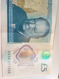 2X RARE £5 NOTES AA27 and AA56