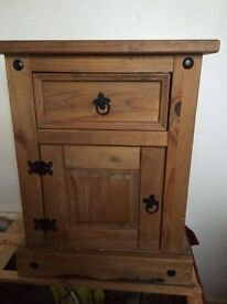 solid Mexican pine bedside cabinet