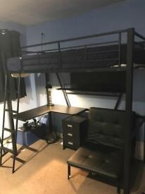 Cabin bed with desk- Black