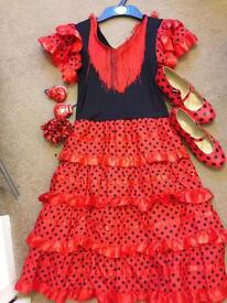 Dress up Spanish Dancer Dress and shoes