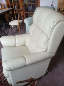 Original Lazy-boy Reclining Ivory Leather Armchair
