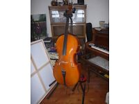 Cello with bow, stand and carrying bag