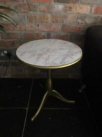 Upcycled IKEA Cafe Side Table GOLD Brass & Marble