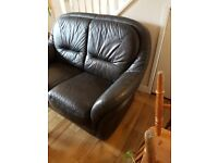 2 seater dark brown leather sofa, good condition