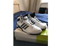 Mens Adidas neo high tops in white.