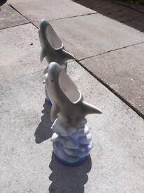 2 x Dolphin Vases