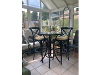 Vintage Thonet style high table and 2 chairs. Breakfast bar. Coffee table. Dining table.
