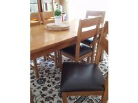 Solid oak extending dining table with 6 matching chairs OAK FURNITURE LAND*