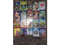 20 as new kids DVD (many disney) movies both region 1 (USA) and 2 (UK) . Disney, Dreamworks etc £15