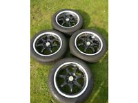 """Wolfrace Alloy wheels deep dish 4x100 and 4x114.3 15"""" 185 55 15 excellent tyres! Jap jdm"""