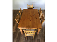 Solid pine dining table, 6 chairs and matching sideboard