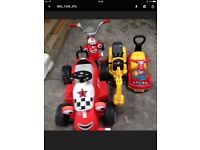 Childs sit on and ride toys selection 4 items in total electric and pedal power age toddler upwards
