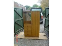 Small Double Wardrobe with Full Length Hanging Rail and Four Drawers plus a Mirror. Can Deliver.