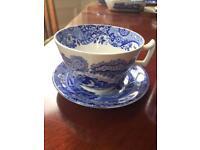 Large Octagonal Copeland Blue Italian Antique Porcelain Coffee Cup & Saucer