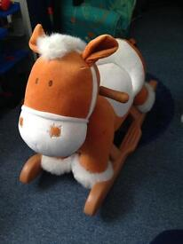 Cute baby toddler soft rocking horse