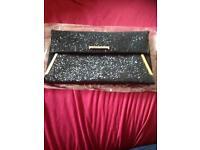 Dorothy Perkins black glitter clutch bag