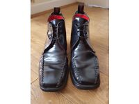 JEFFERY WEST BLACK LEATHER CROAKER LACE UP ANKLE BOOTS UK 7