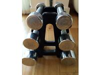 6 York dumbbells