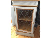 Shabby chic hi Fi cabinet / drinks cabinet with stunning leaded glass panel & top that opens