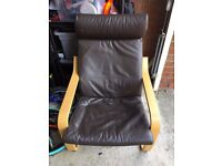 Ikea POÄNG Armchair - chocolate brown leather