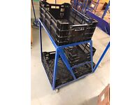 Online Business Order Picking Trolley 4 Shelves With Baskets Storage
