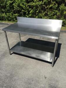 Établi de travail, table en acier inoxidable stainless 30x60 avec dossier - ultra solide, toute soudée!