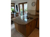Kitchen solid wooden cabinets and quartz worktops