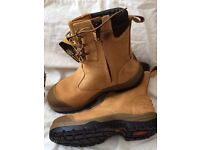 SAFETY BOOTS: Oliver, new, quality steel toe capped work boots, lace up side zip, tan, sizes 11 & 12