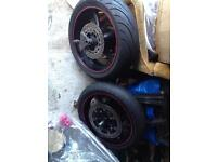 Motorcycle wheels and road pilot 3 tyres