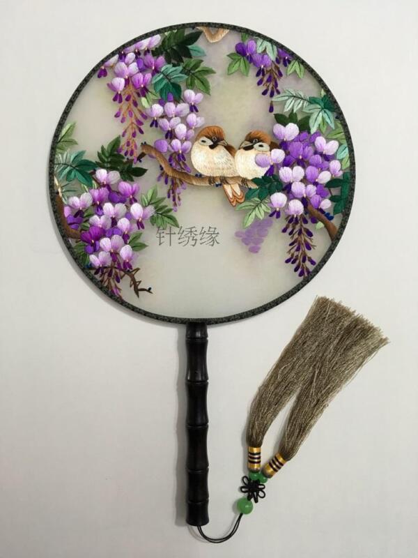 Chinese 3D Lifelike Love Birds Tree Needlework Embroidery Silk Hand Fan Gift