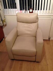 Cream Leather Reclining Armchair £45 ono