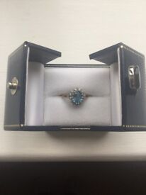 Blue topaz and diamond gold ring £75 ono