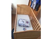 Baby cot / bed pine colour