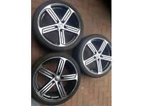 3 x 19 inch vw cadiz alloy wheels pcd 5x112