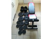 82kg Vinyl Weight Plates Set with Dumbbells & Weights Bench (press, squat rack, gym, dumbells)