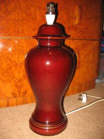 Brown plain shiny ceramic table lamp base, 70's