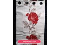 red rose curtains