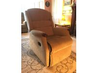 Recliner Chair, Mechanical, in Beige Fabric