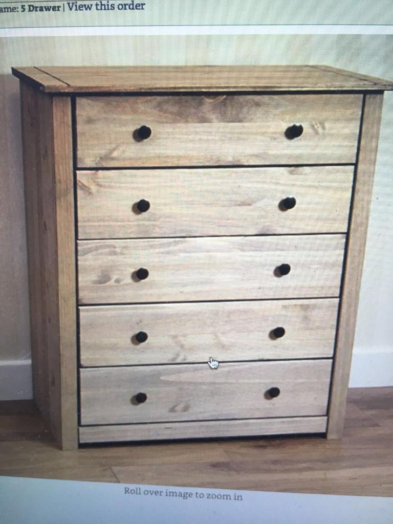 london solid oak 5. 5 Drawer Chest Solid Pine Wood Waxed Oak. London £60.00 Oak F