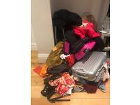 various woman clothes, bags, shoes, jeans, jacket