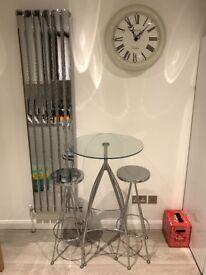 Chrome + glass designer table + stools