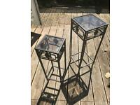 2 x unusual decorative side tables