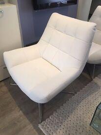 Danetti Modern White Faux Leather Armchair