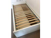 Single bed frame w storage+slatted bedbase no mattress (Ikea Flaxa)
