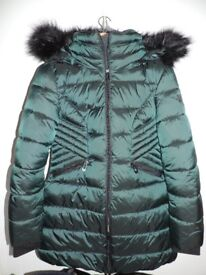 Brand New Women's Winter Quilted Coat with Detachable Hood in Olive Green.
